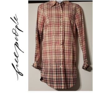 Free People Ombre Plaid Button Down LS Shirt/Dress